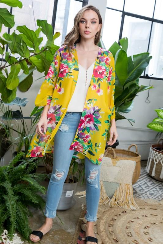 Floral Print Kimono -Yellow - Front