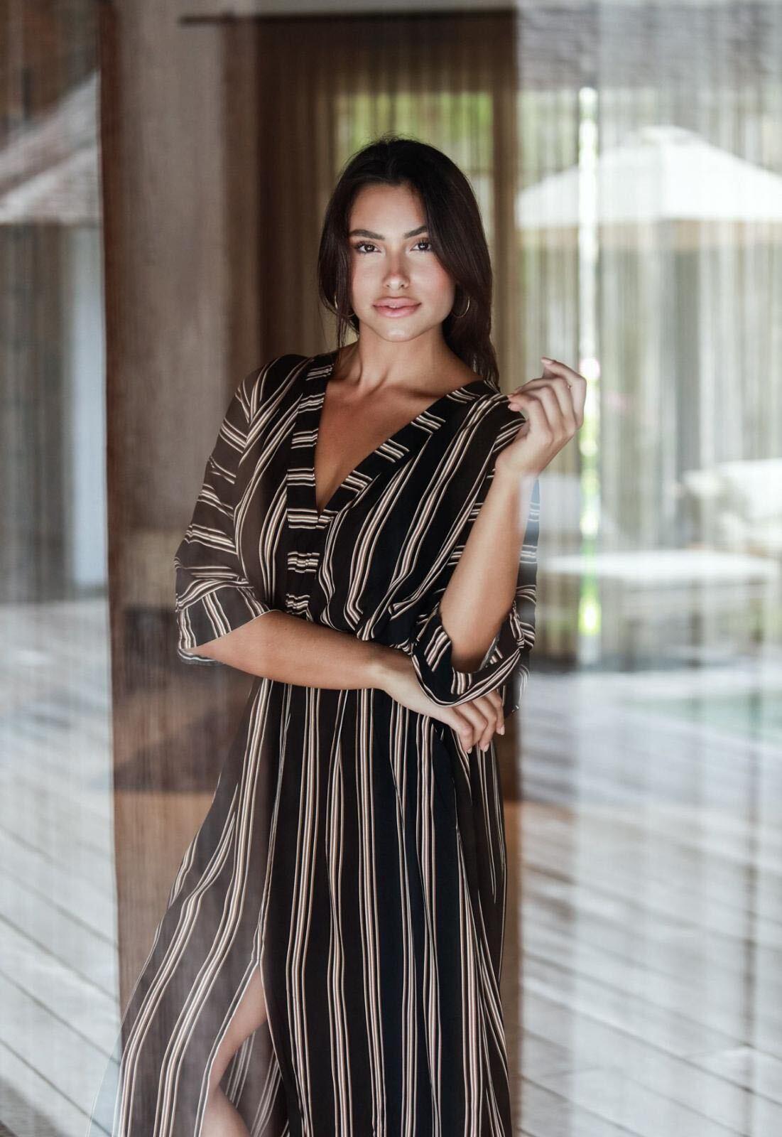 Kaftan Striped Dress -Black stripe - Front
