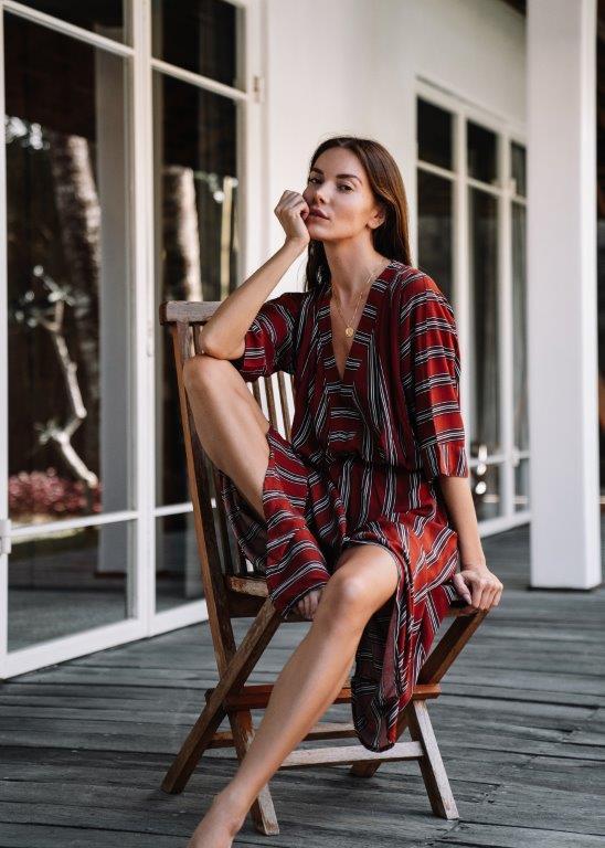 Kaftan Striped Dress -Red stripe - Front