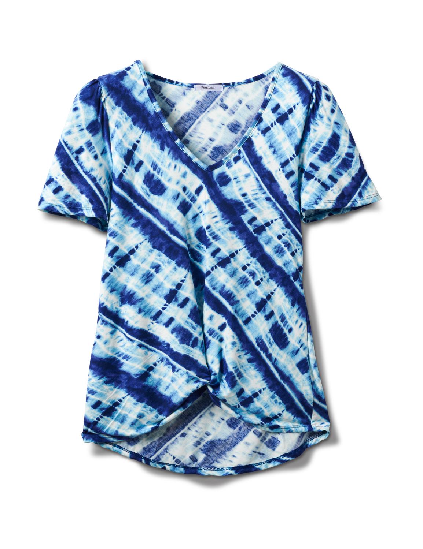 Bias Tie Dye Knot Front Knit Top - Misses -Blue - Front