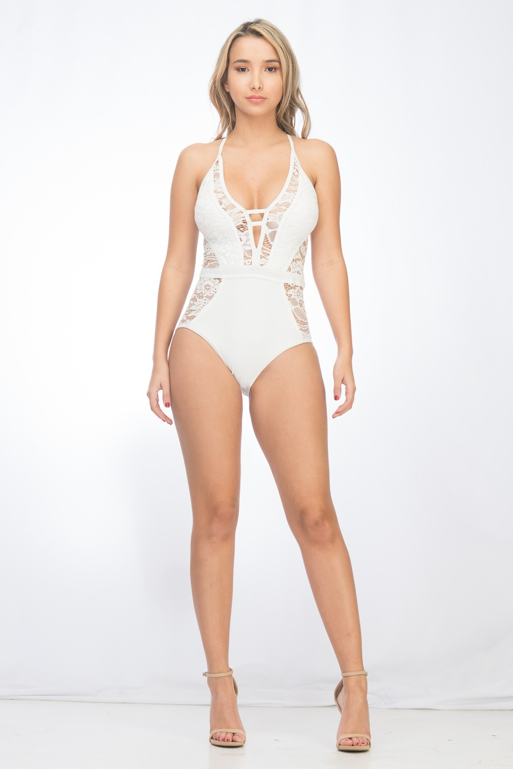One Piece Sexy Lace Swimsuit -White - Front