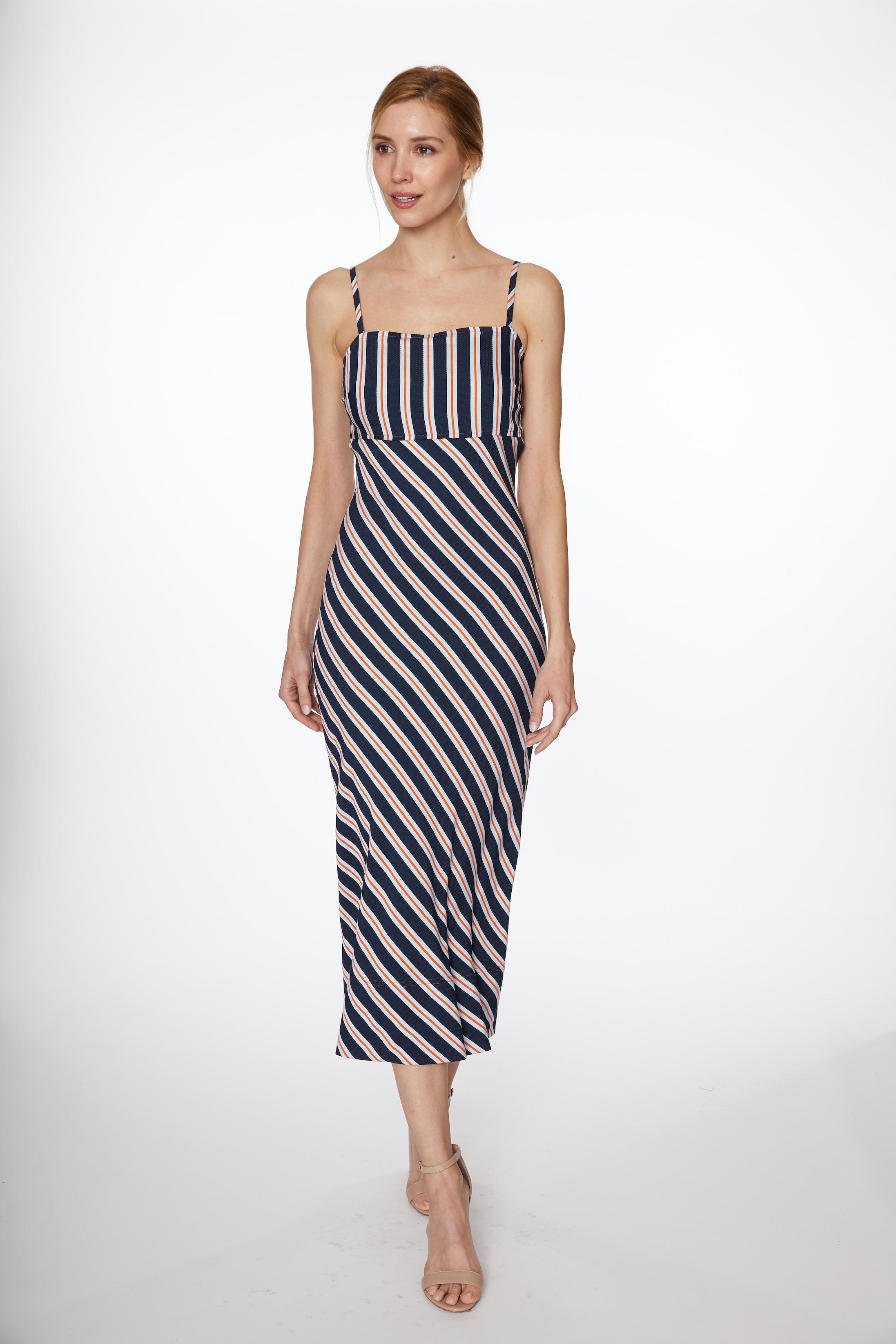 PRE ORDER Multi Stripe Woven Maxi Dress -Navy Multi - Front