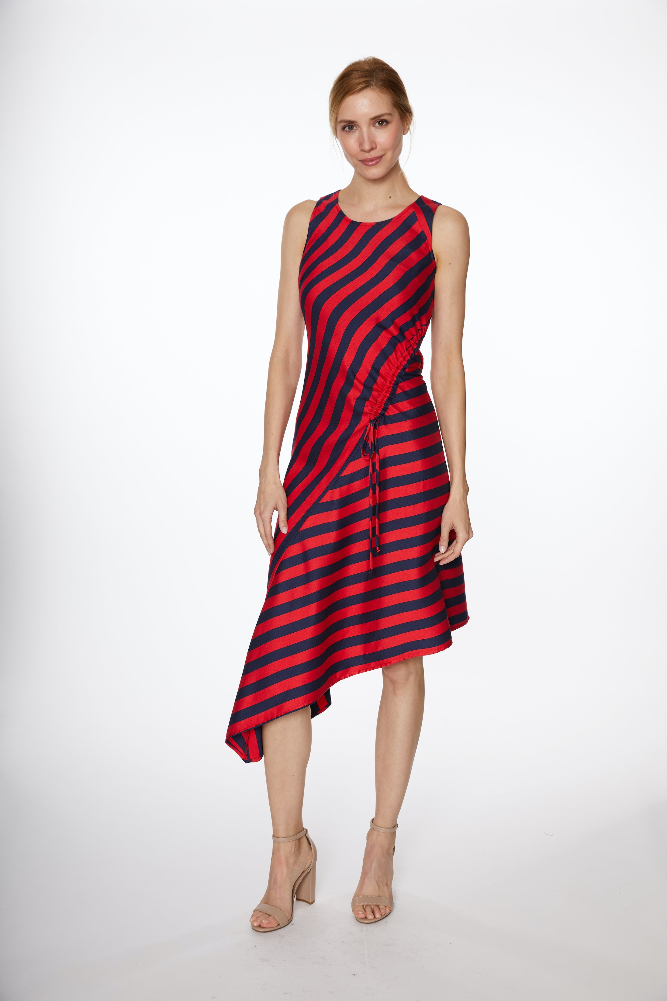 PRE ORDER Asymmetrical Stripe Drawstring Dress -Navy/Red - Front