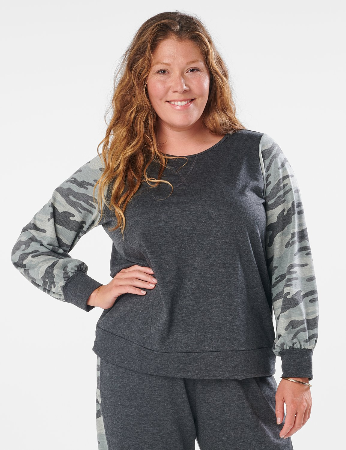 Camouflage Mixed Print Knit Top - Plus -Charcoal - Front