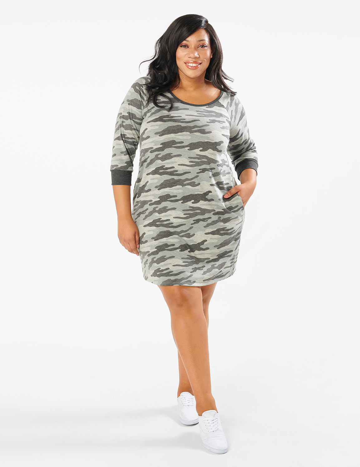 Camouflage Knit Dress - Plus -Charcoal - Front