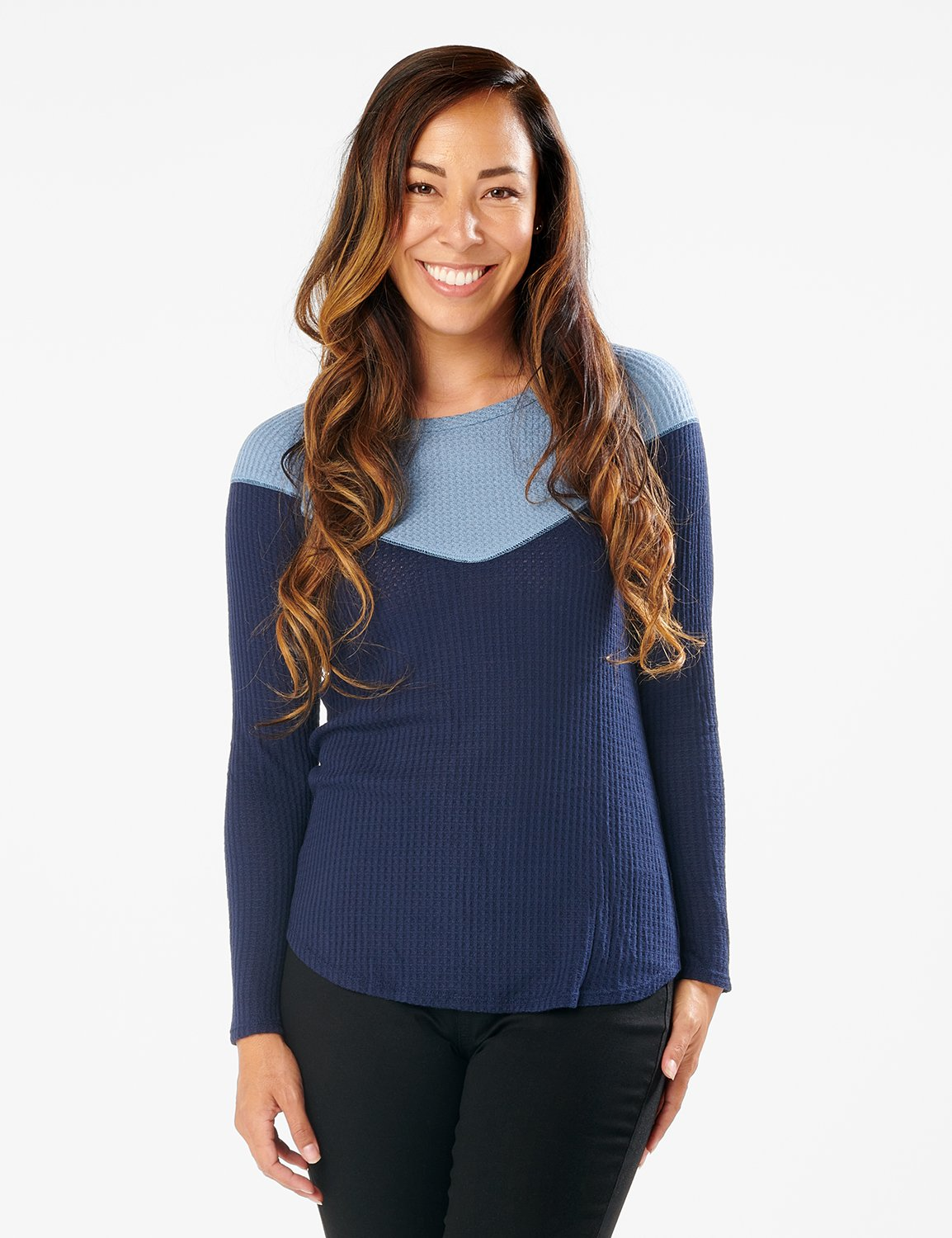 Denim Friendly Color Block Thermal Knit Top - Misses -Navy - Front