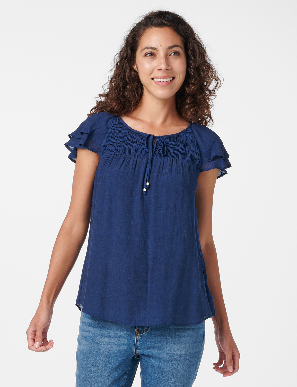 Textured Smock Neck Woven Peasant Top -Navy - Front