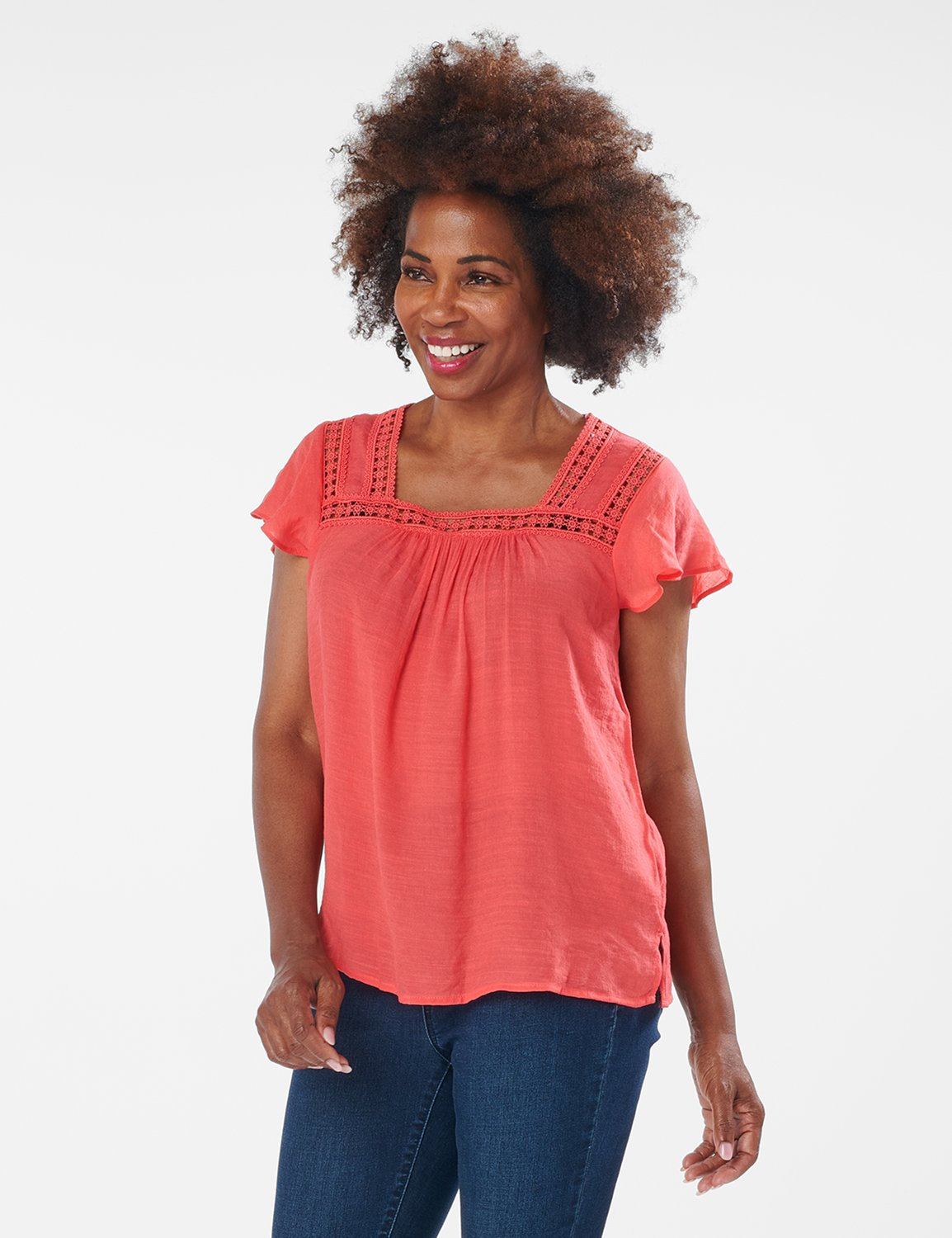 Crochet Trim Textured Square Neck Woven Top -CORAL - Front