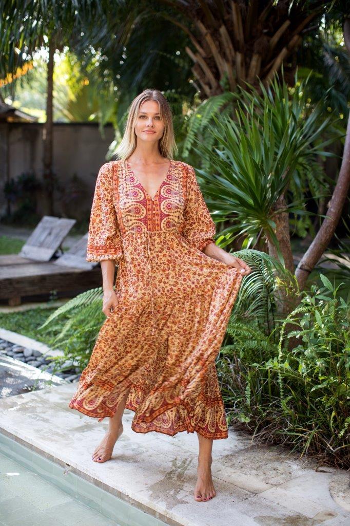 Amber Peasant Dress -Amber - Front