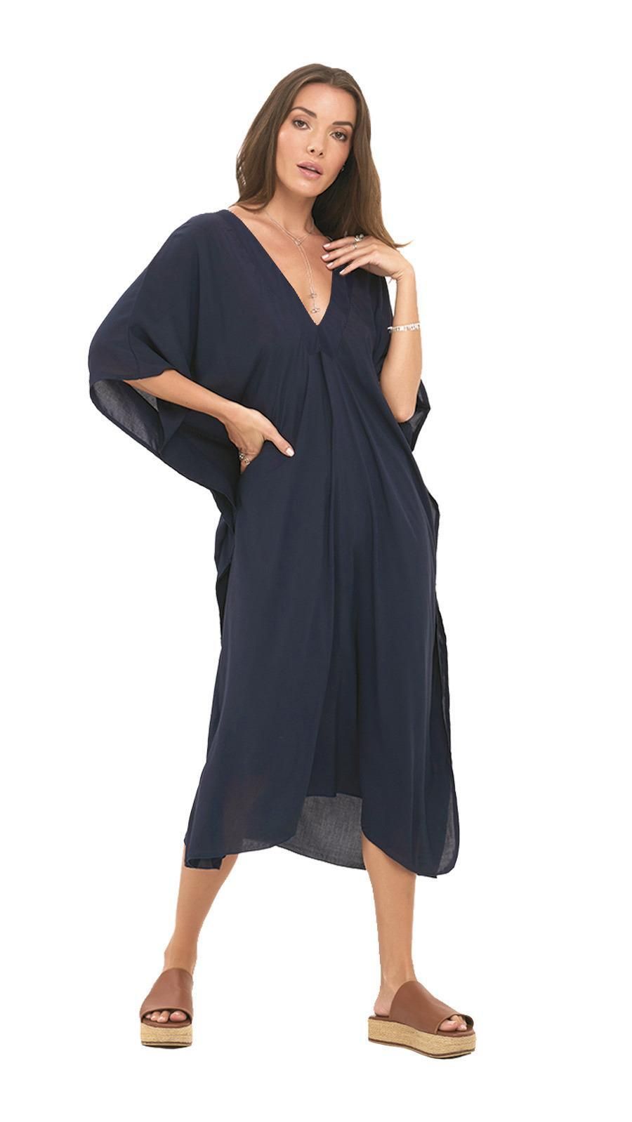 Pre-Order Strand Tunic Dress -Navy - Front
