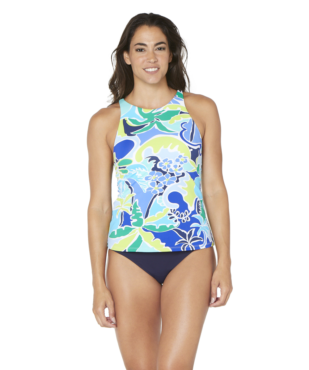 Nautica® Cocktails on the Bow High Neck Tankini Swimsuit Top -Blue - Front