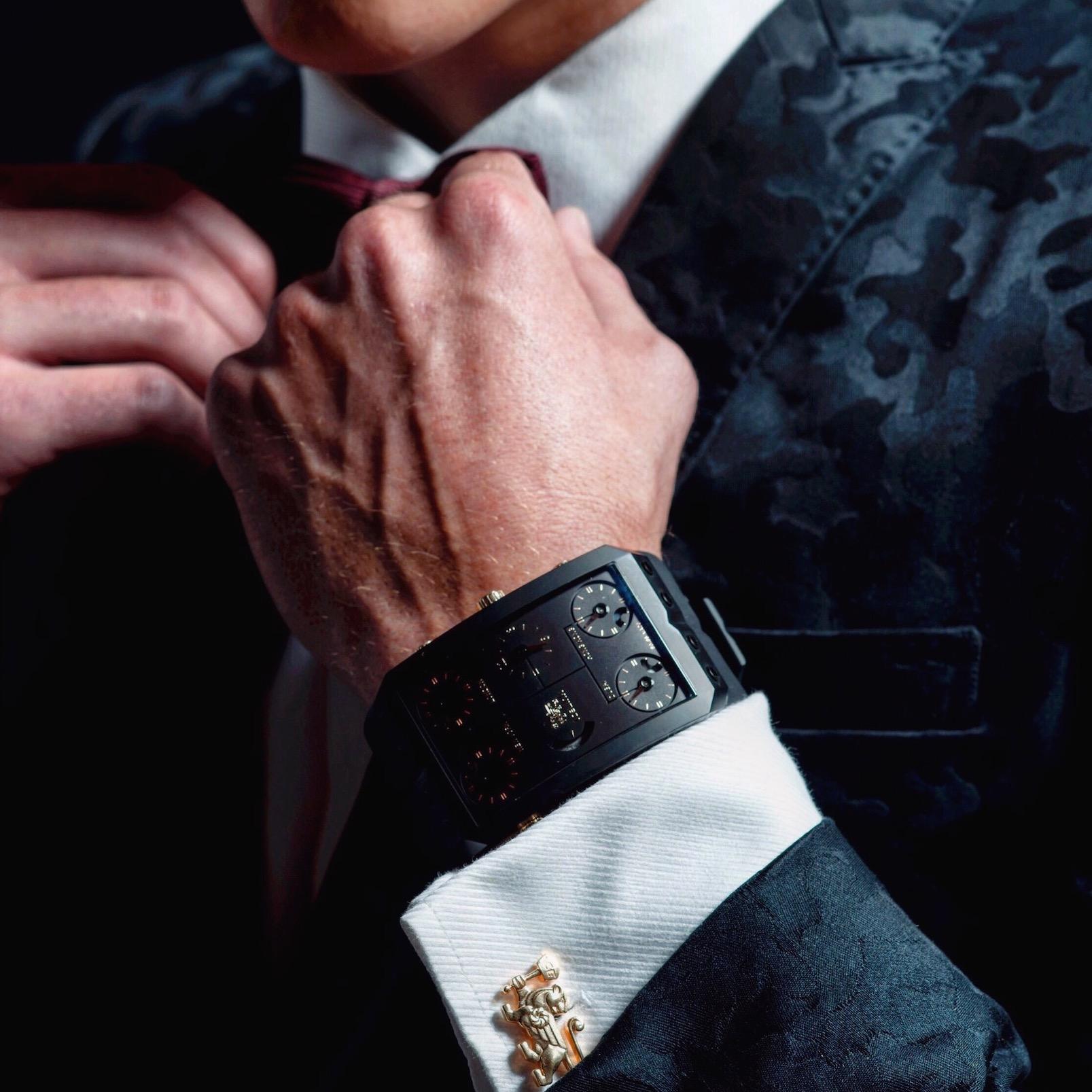 Close up of man wearing Zermatt Monte Rosa Mechanical Watch - IceLink