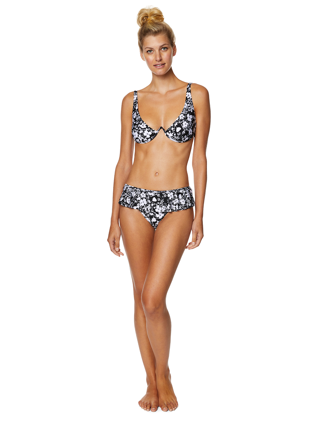 Pre-Order Avec Les Filles Lily of the Valley Floral Ruffle Swimsuit Bottom -Black/White - Front