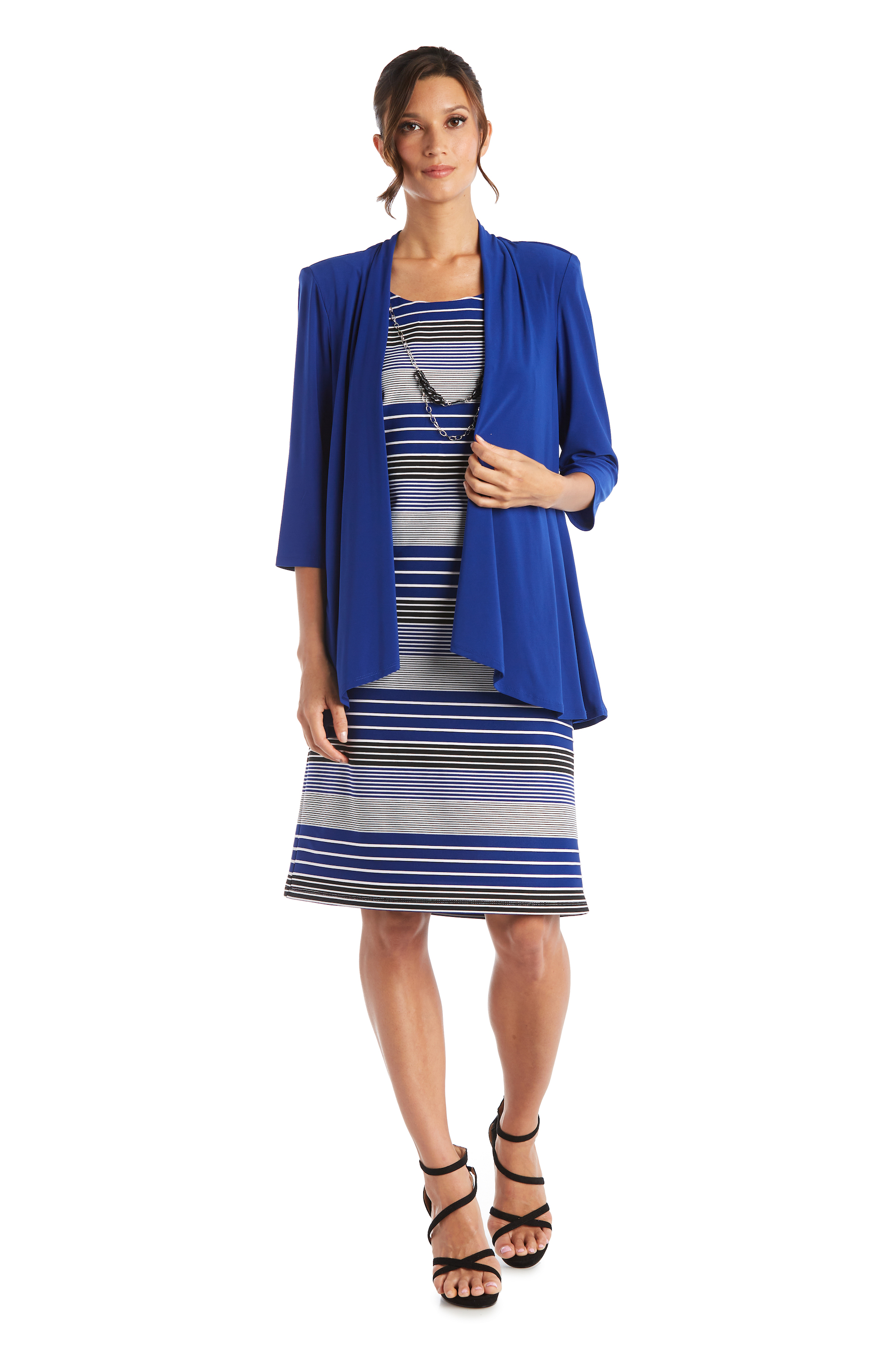 Stripe Dress with Jacket - Misses -Royal - Front