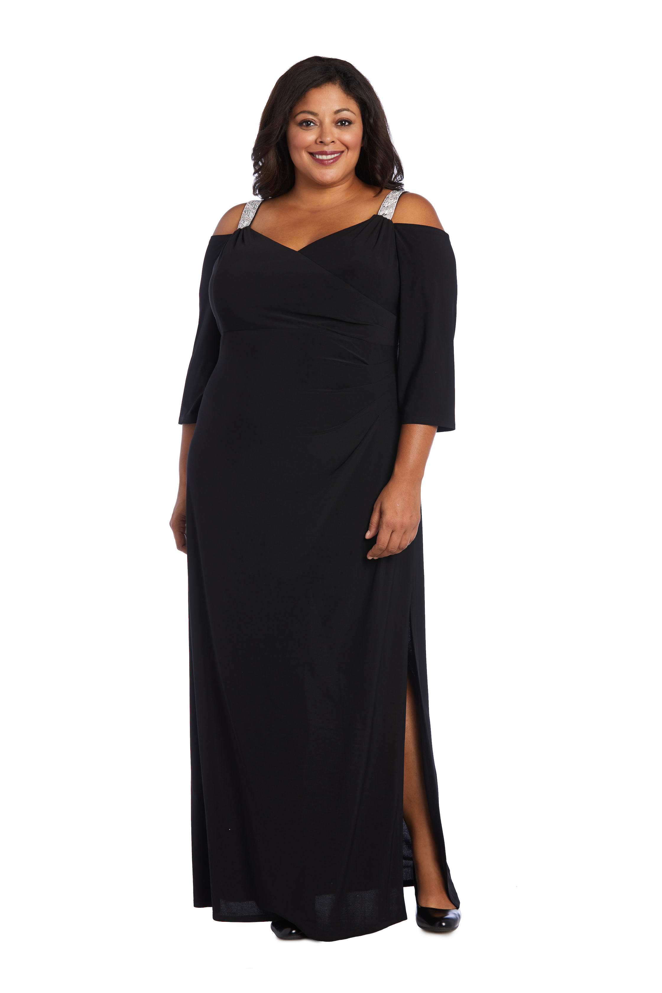 Embellished Cold Shoulder Gown -Black - Front