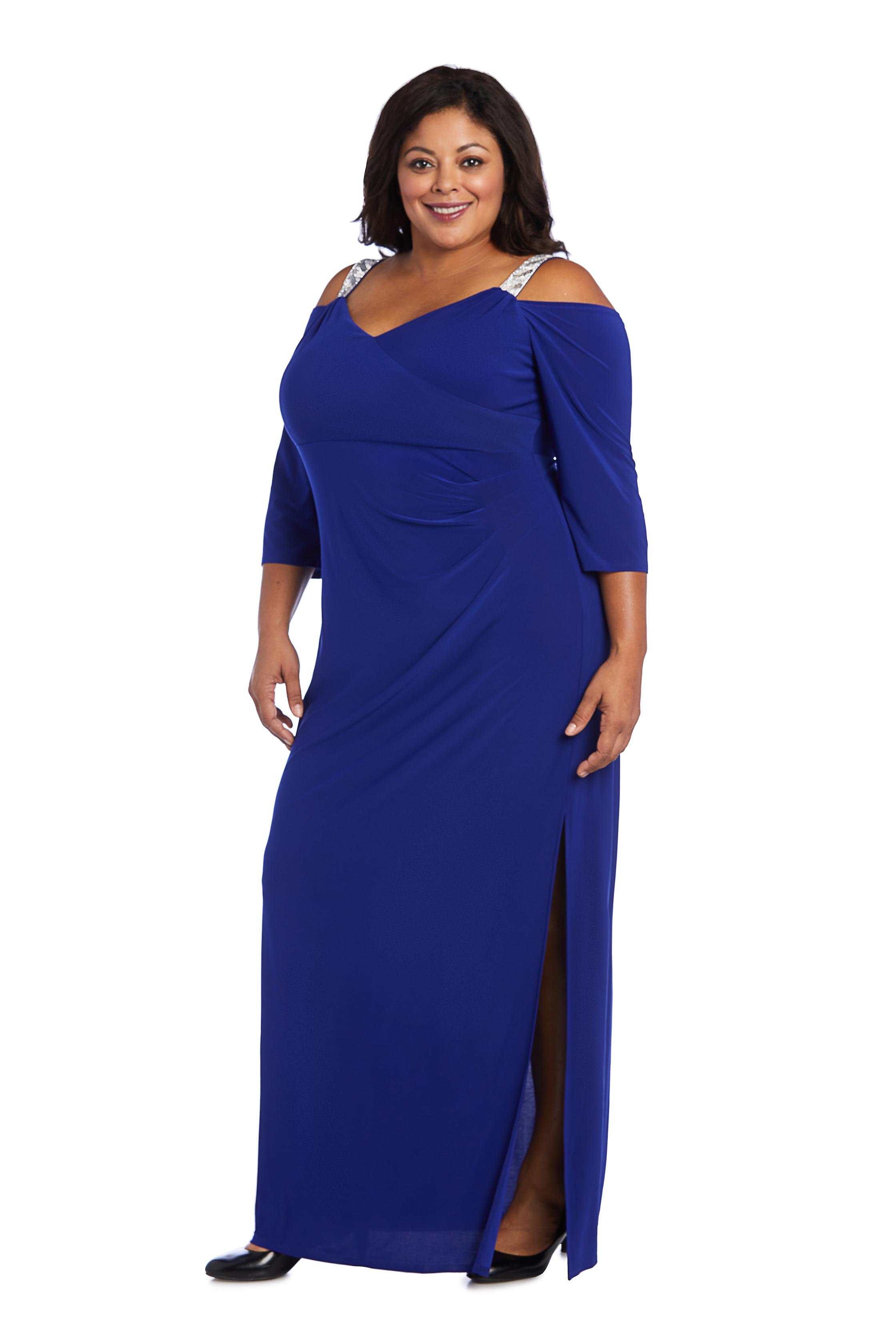Embellished Cold Shoulder Gown -Electric Blue - Front