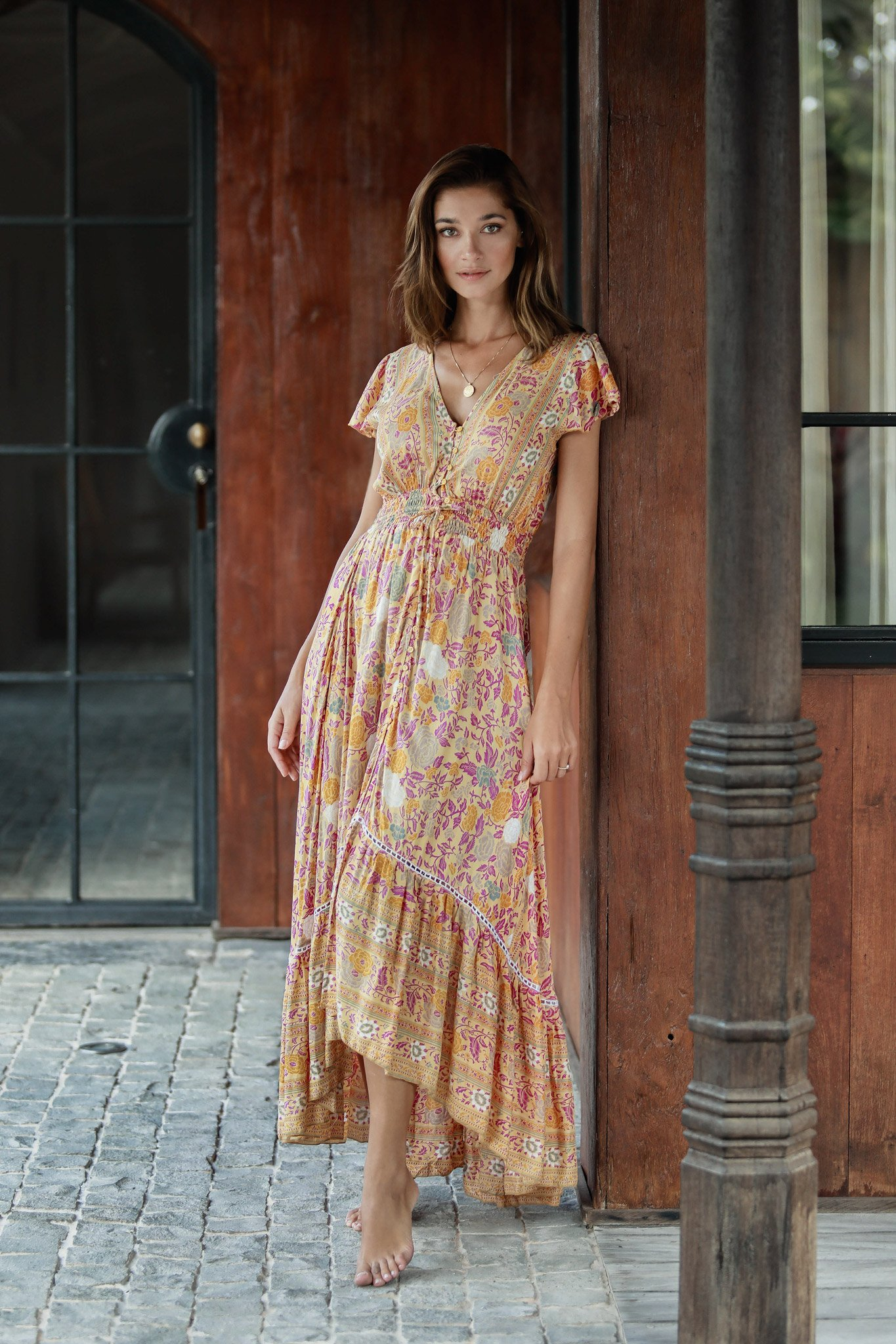 Pre-Order Yellow Floral Maxi Dress -Yellow-Floral - Front