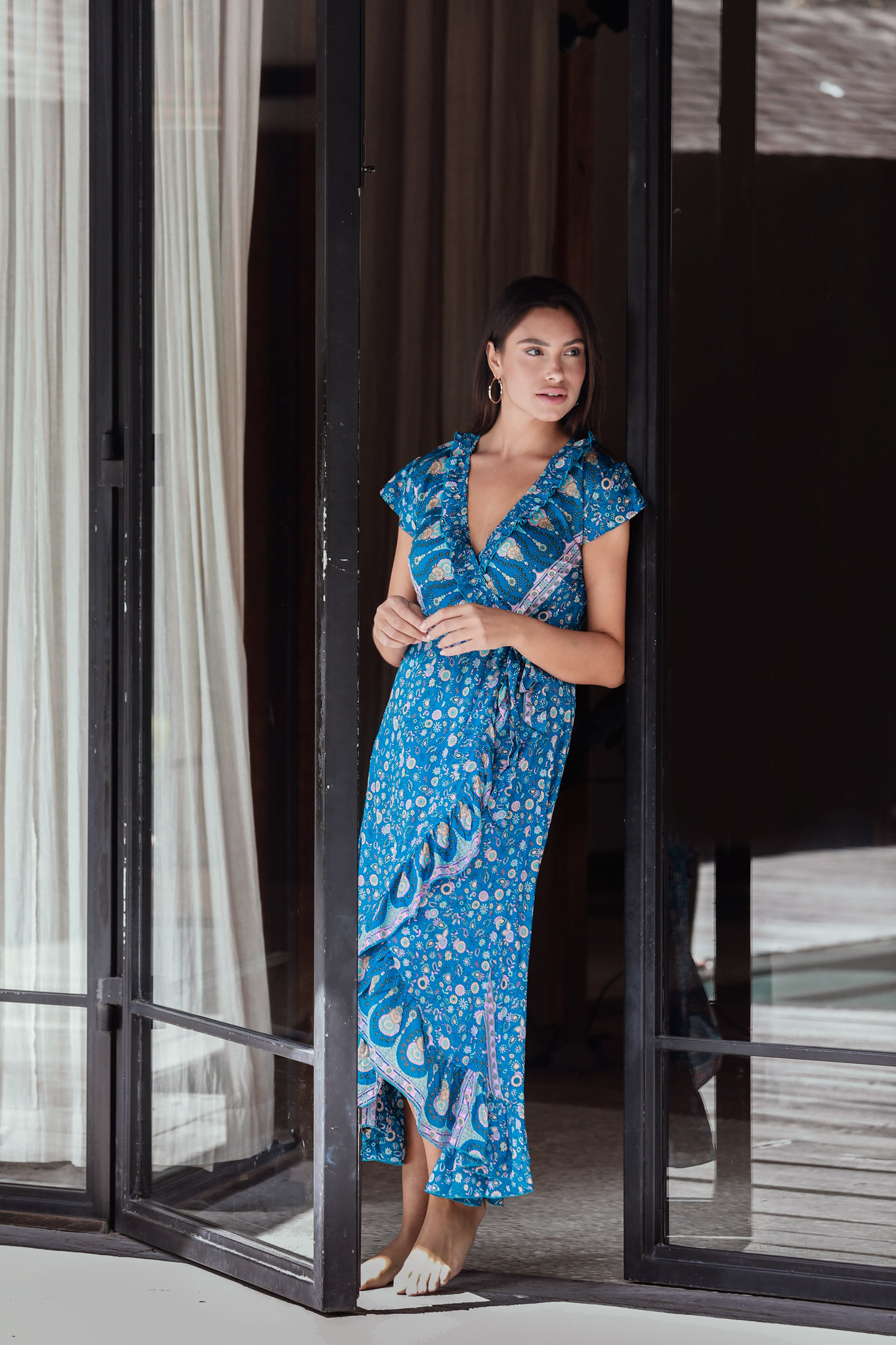 Pre-Order Blue Wrap Maxi Dress -Blue - Front