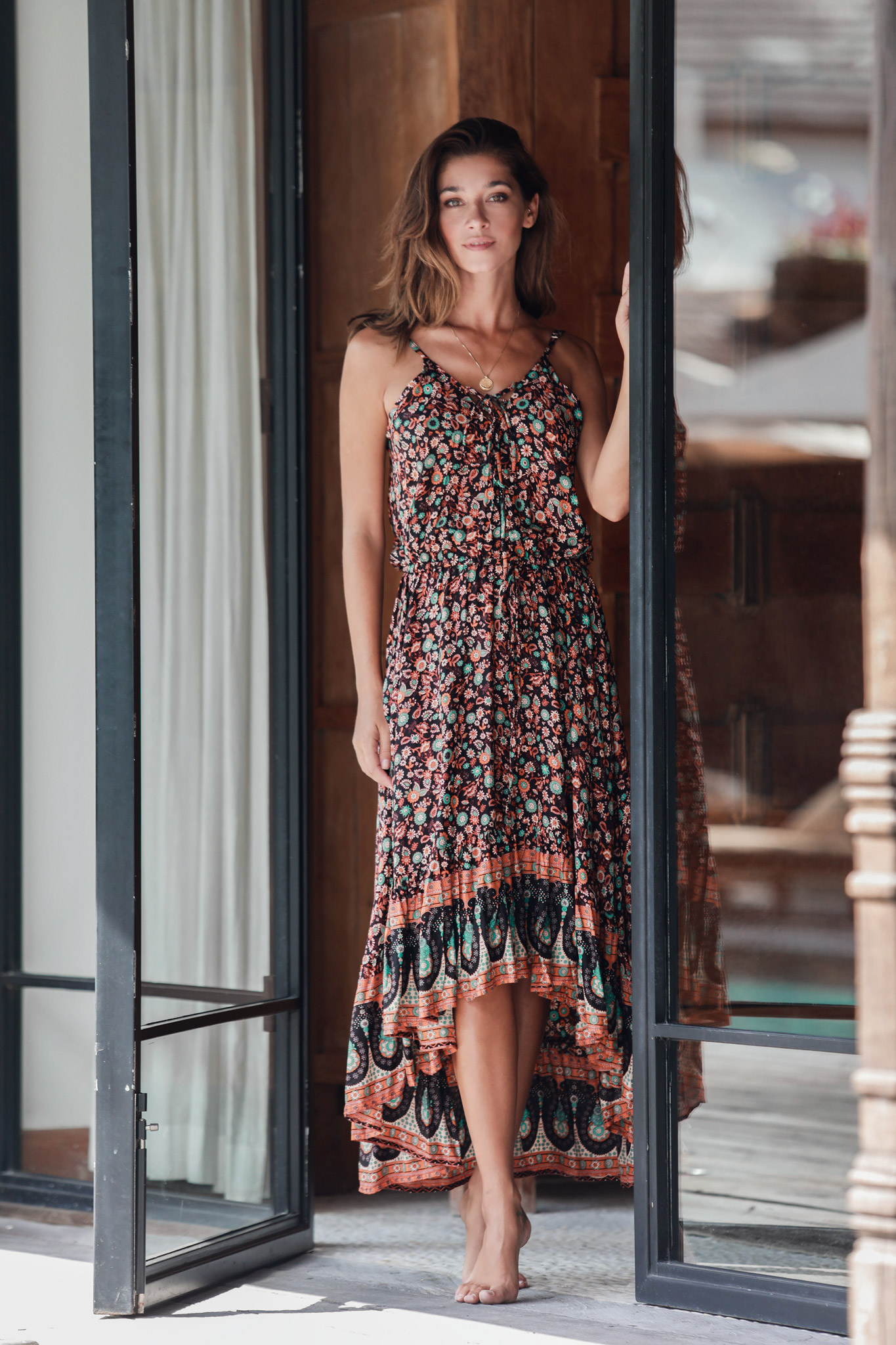 Pre-Order Thin Strap Maxi Dress -Brown - Front