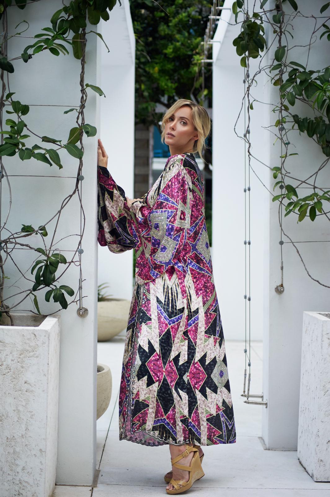 Pre Order Violet Isabella Kimono -Multi - Front