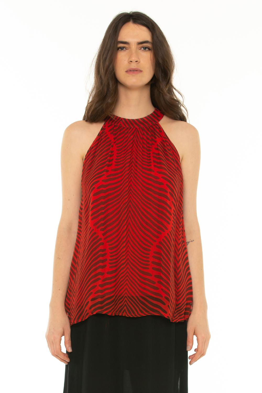 Sleeveless Blouse Baru Red -Baru red - Front