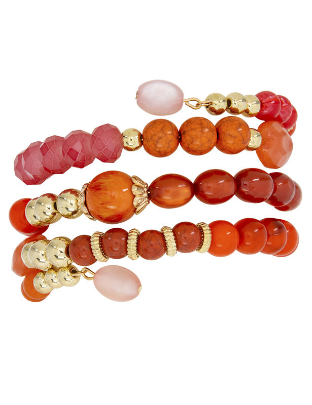 4 Row Multi Bead Coil Bracelet -Coral - Front