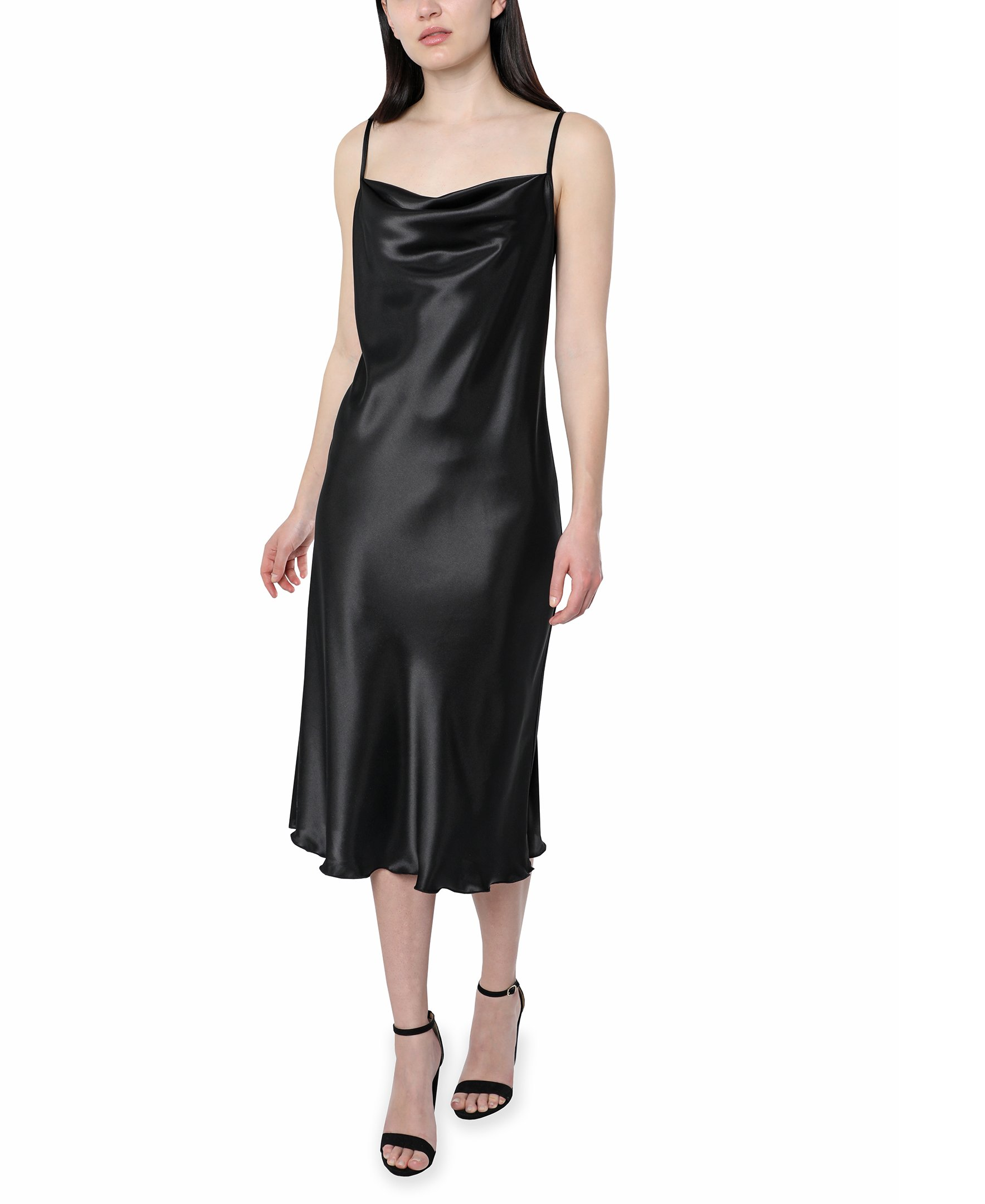 Bebe Satin Midi Dress -black - Front