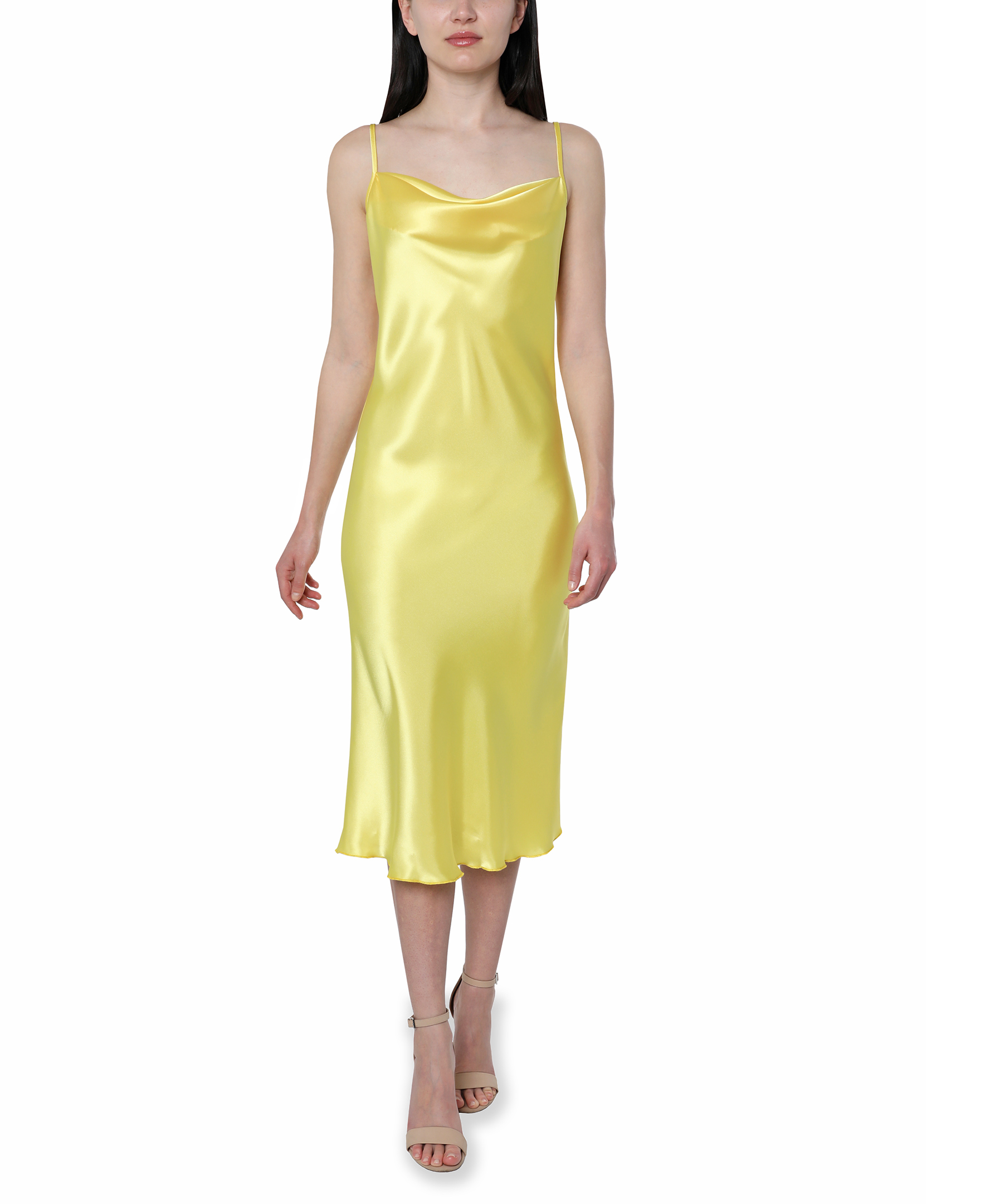 Bebe Satin Midi Dress -yellow - Front