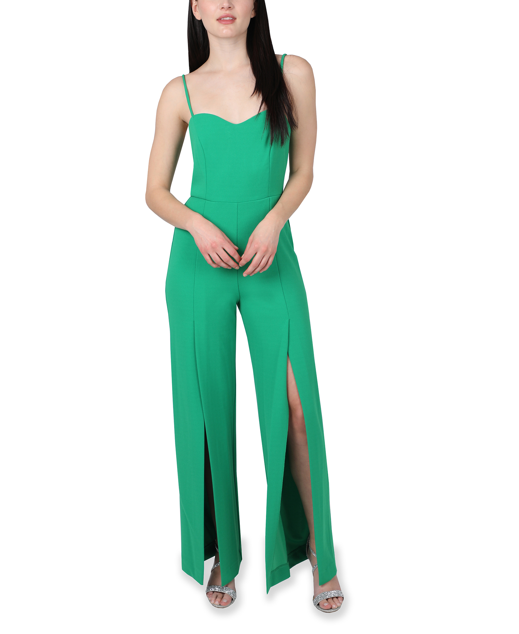 Bebe Open Leg Jumpsuit -green - Front