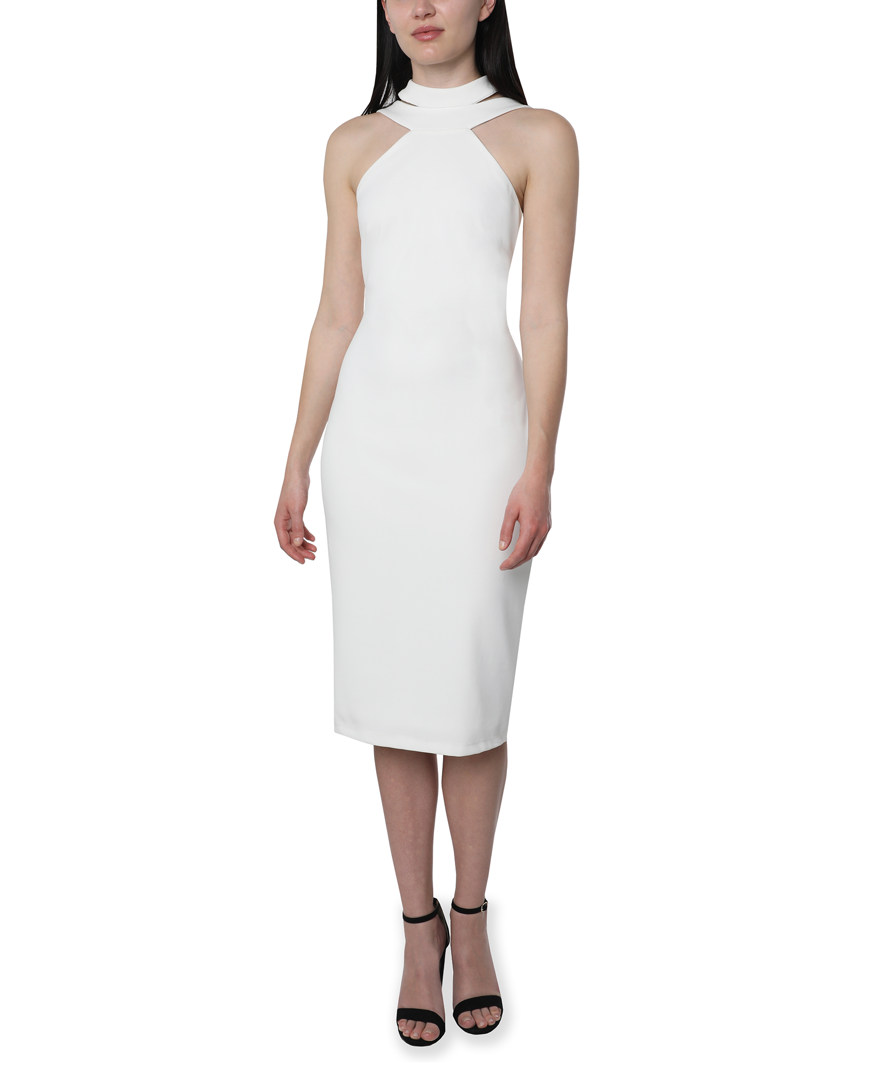Bebe Halter Neck Midi Dress -Ivory - Front