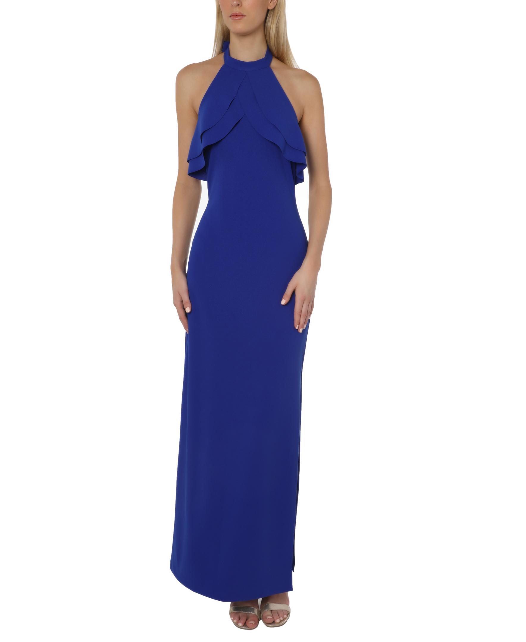 Bebe Ruffle Halter Gown -cobalt - Front