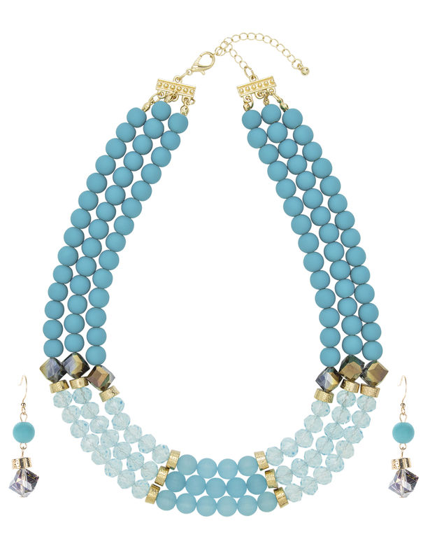 3 Row Multi Beaded Set -Turquoise - Front