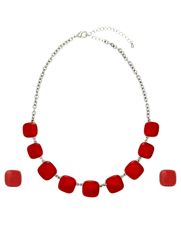 Square Drop Set -Silver/Red - Front