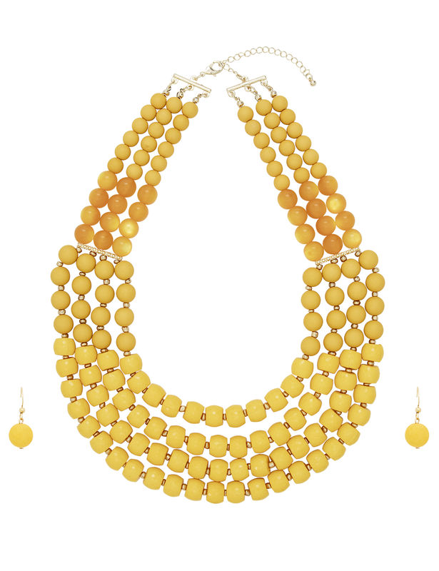 4 Row Multi Beaded Set -Yellow - Front
