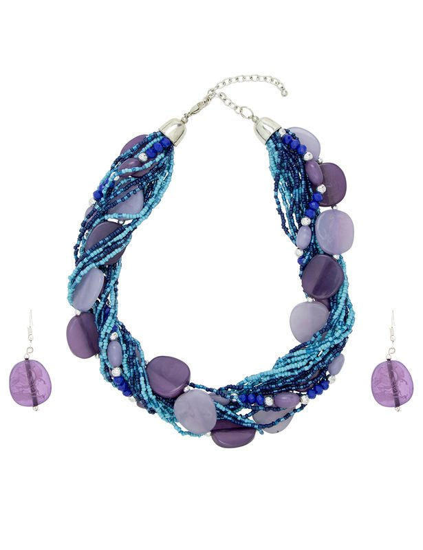 Multi Row Necklace and Earring Bead Set -Blue - Front