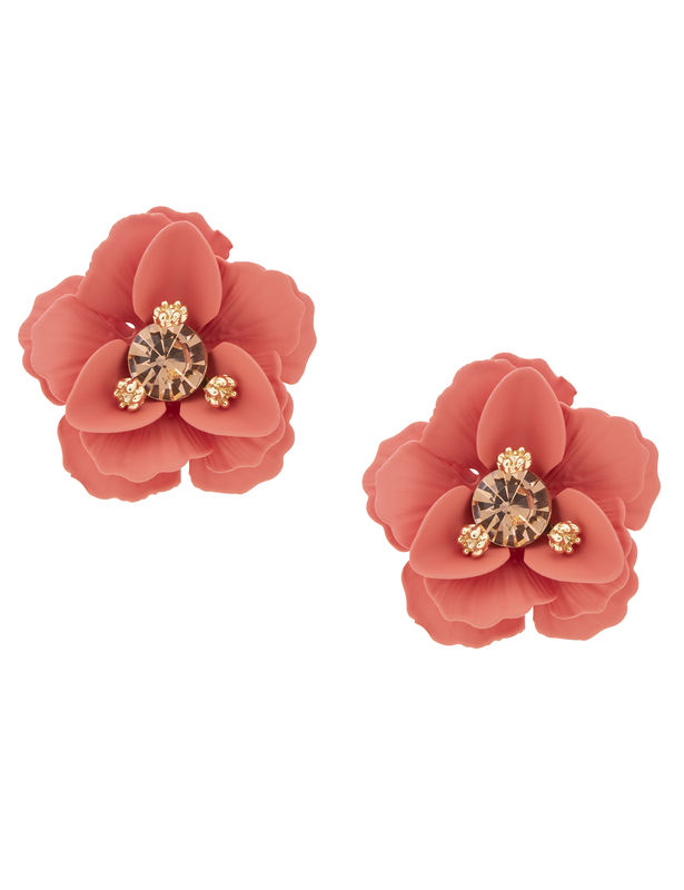 Metal Flower Post Earring -Red - Front