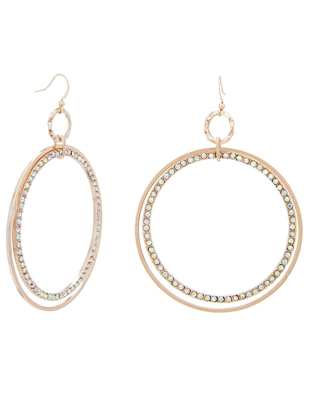 Hammered and Pave Ring Drop Fishhook Earring -Multi - Front