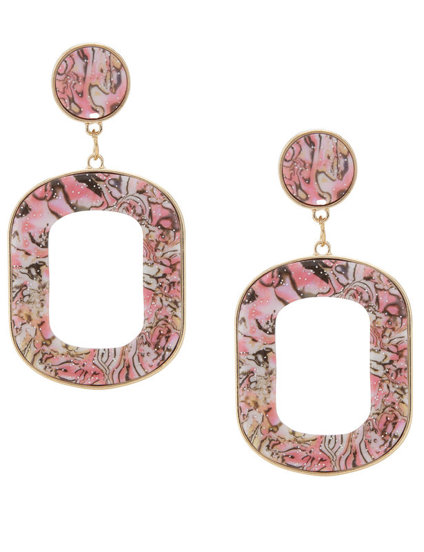 Plexi Abalone Ring Post Earring -Pink - Front