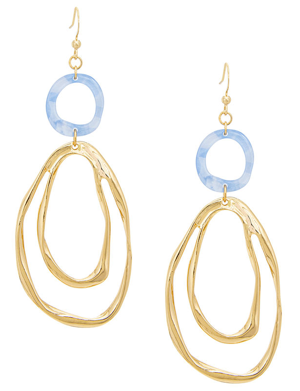 Hammered Drop Fishhook Earring -Gold/Blue - Front