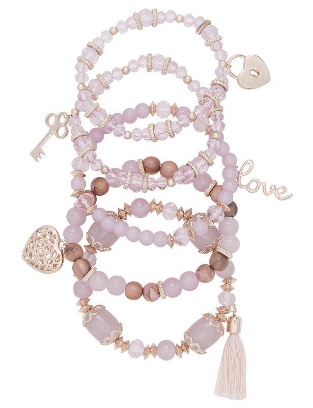 5 pc Multi Beaded Charm Bracelets -Purple - Front