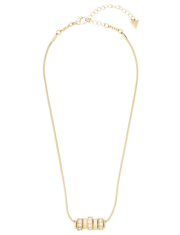 Ring Charm Drop Necklace -Gold - Front