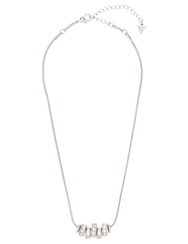 Ring Charm Drop Necklace -Silver - Front