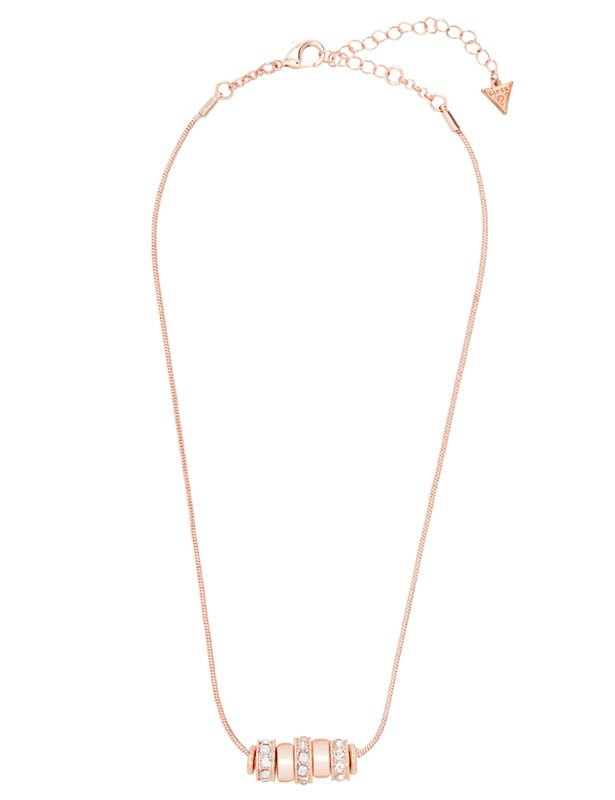 Ring Charm Drop Necklace -Rose Gold - Front