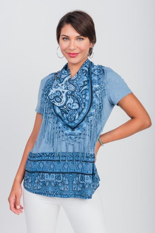Pre-Order Pacific Encounter Knit Tee & Matching Scarf - Misses -Blue - Front