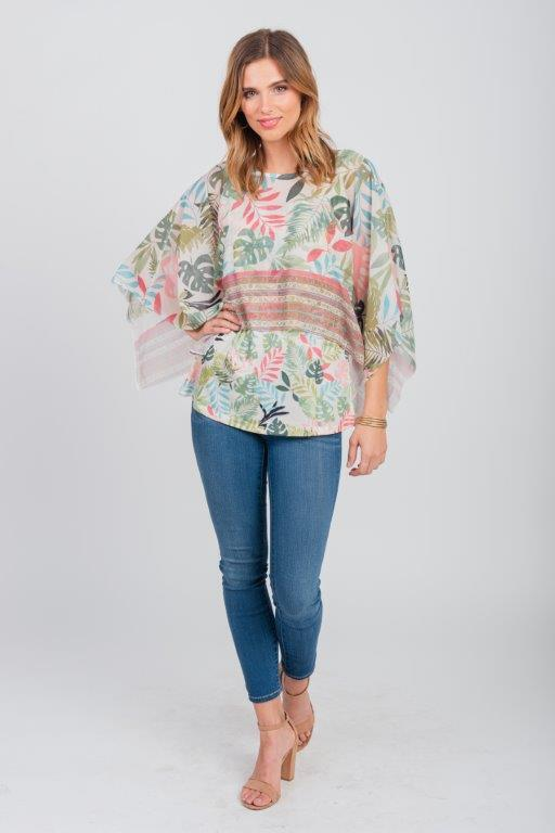 Pre-Order Palm Party Poncho Top - Misses -Green - Front