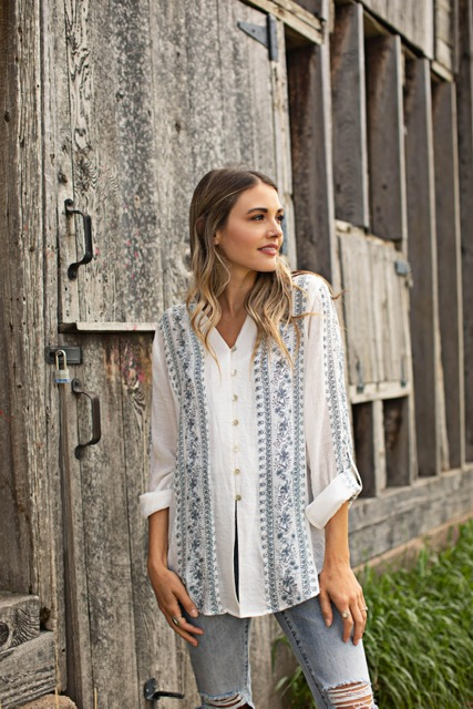 Printed Floral Button Front Woven Shirt -Ivory/Blue - Front
