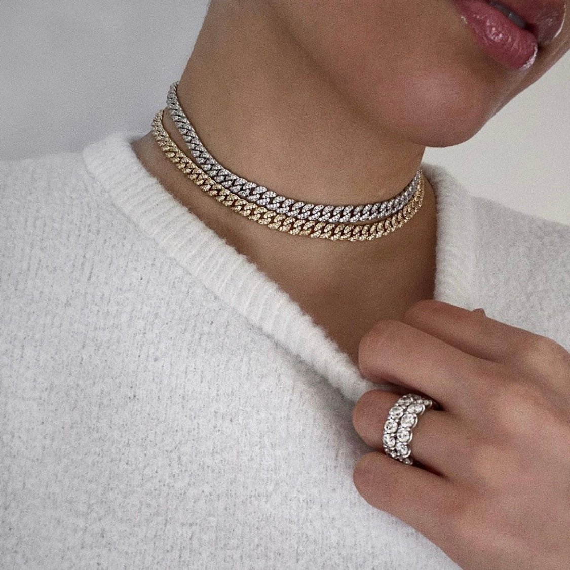 Cuban Choker and ring shown