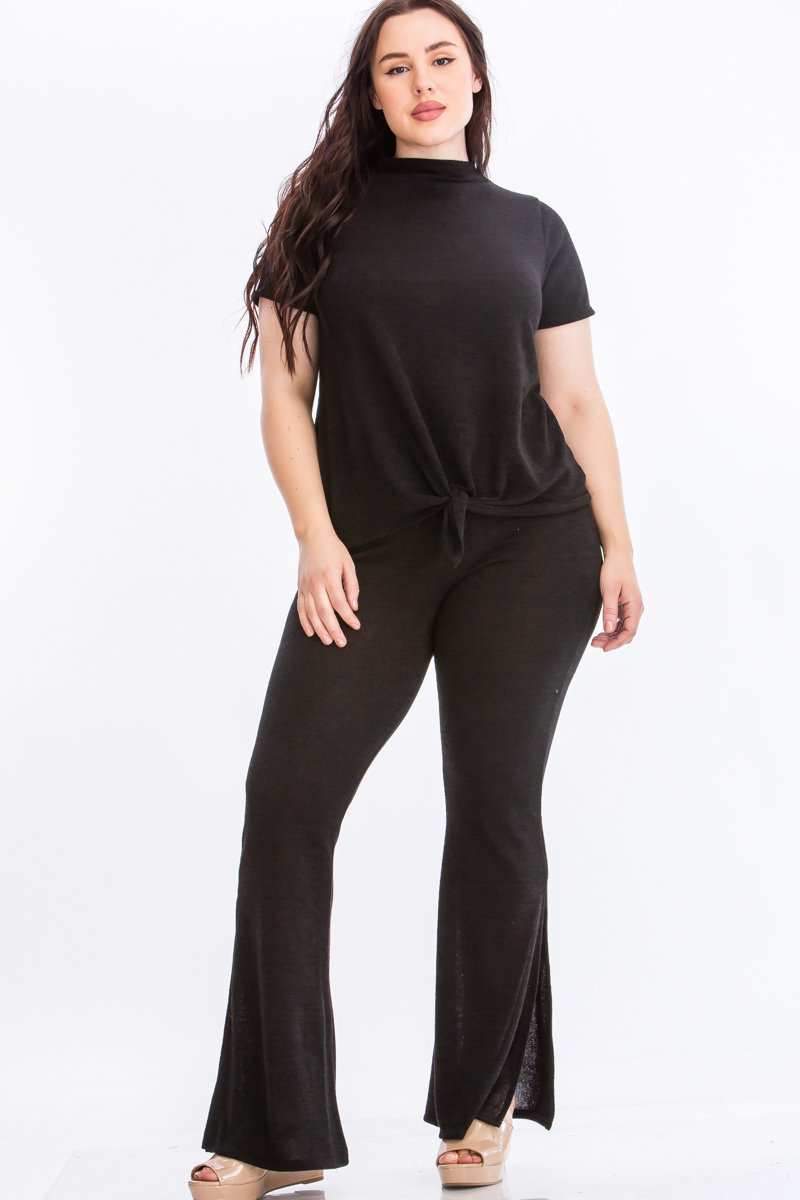 Pre-Order Tie Top And Split Bell Pant Lounge Set -Black - Front