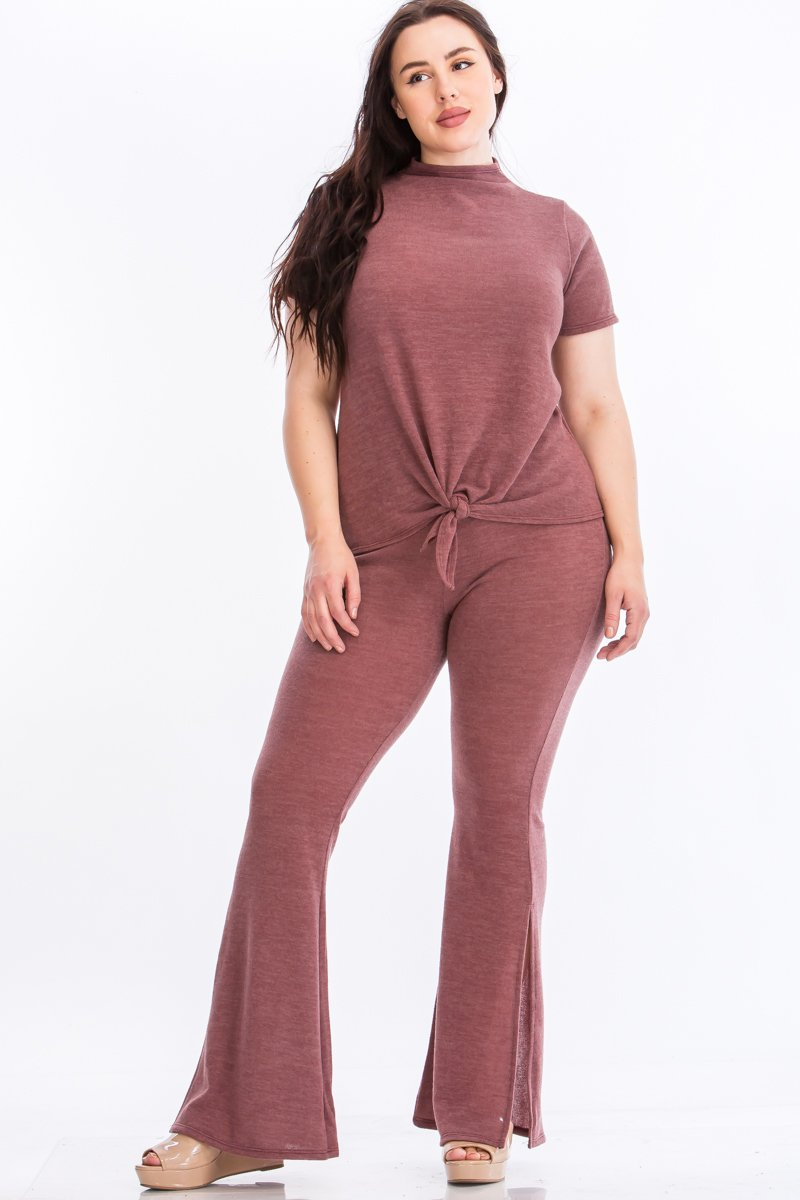 Pre-Order Tie Top And Split Bell Pant Lounge Set -Mauve - Front