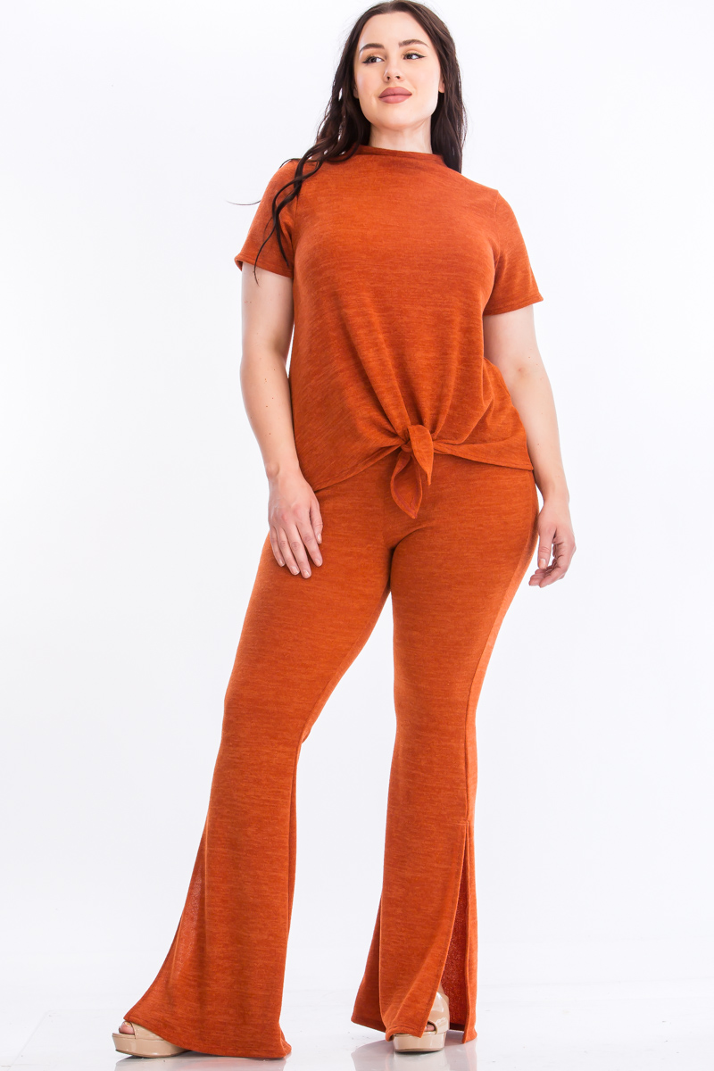 Pre-Order Tie Top And Split Bell Pant Lounge Set -Rust - Front